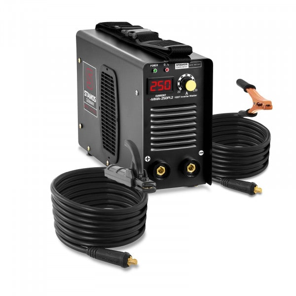 Poste à souder à l'arc - 250 A - Hot Start - Câbles de 8 m - PRO
