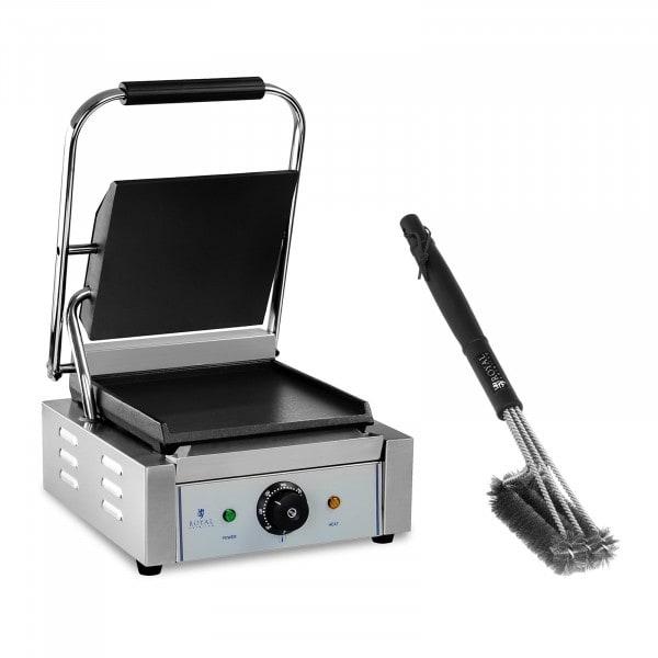 Kit machine à panini et brosse de nettoyage à 3 spirales - 1 800 W - Plaques lisses