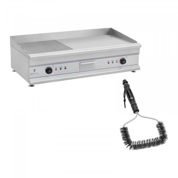 Kit plancha électrique lisse et rainurée avec brosse de nettoyage - Double - 100 cm - 2 x 3 200 W