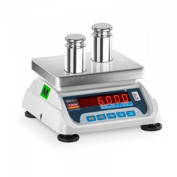 Balance poids-prix - Calibrage certifié - 3 kg / 1 g - 6 kg / 2 g - LED