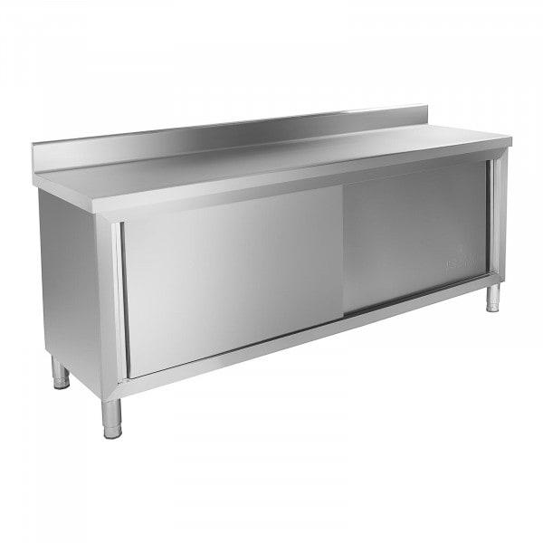 Meuble bas inox - 200 x 60 cm - Avec Dosseret - Capacité de charge de 160 kg