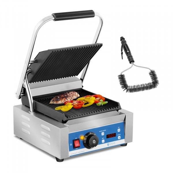Kit machine à panini et brosse de nettoyage - 1 800 W - Plaques rainurées - Minuterie