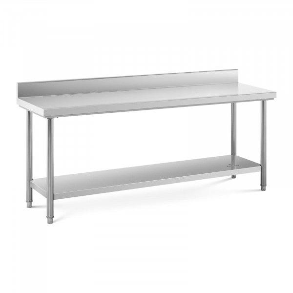 Table de travail inox avec dosseret - 200 x 60 cm - Capacité de 195 kg