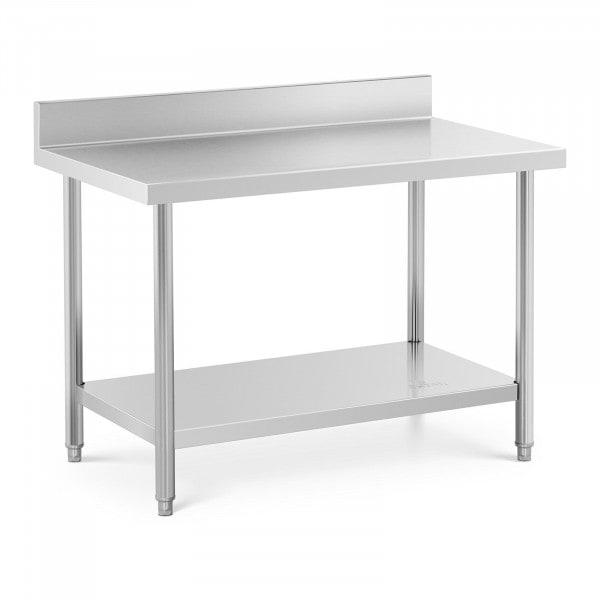Table de travail inox avec dosseret - 120 x 70 cm - Capacité de 115 kg