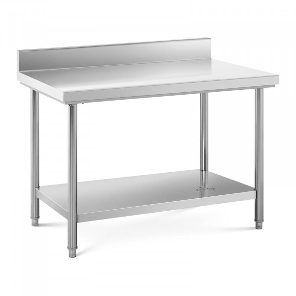 Table de travail inox avec dosseret - 120 x 70 cm - Capacité de 143 kg
