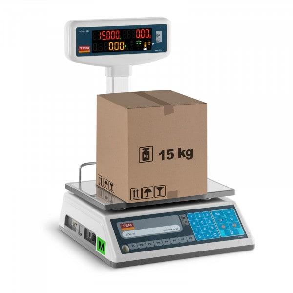 Balance poids-prix avec afficheur LED sur trépied - Calibrage certifié - 6 kg/2 g - 15 kg/5 g