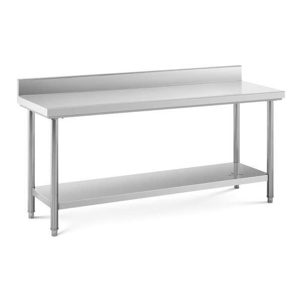 Table de travail inox avec dosseret - 180 x 60 cm - Capacité de 170 kg