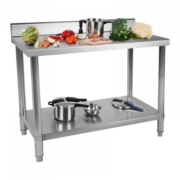 B-WARE Table de travail en inox - 120 x 60 cm - Capacité de 110 kg - Avec dosseret