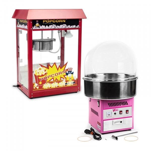 Kit machine à popcorn et machine à barbe à papa - 1 600 W / 1 200 W - Coupole de protection comprise