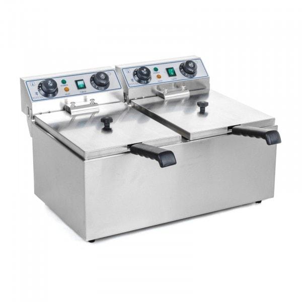 B-WARE Friteuse électrique double - 2 x 13 litres avec minuterie (60 min.)