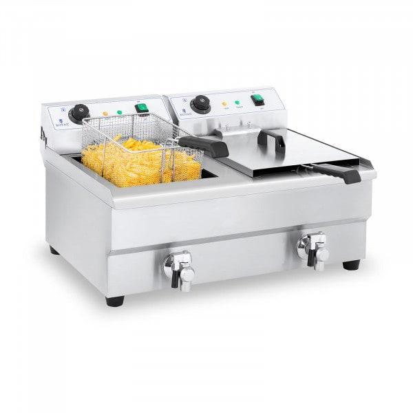 Double friteuse électrique - 2 x 16 litres avec robinet de vidange