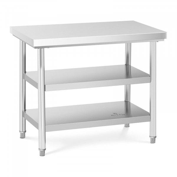 Table de travail inox - 100 x 60 cm - 600 kg - 3 niveaux