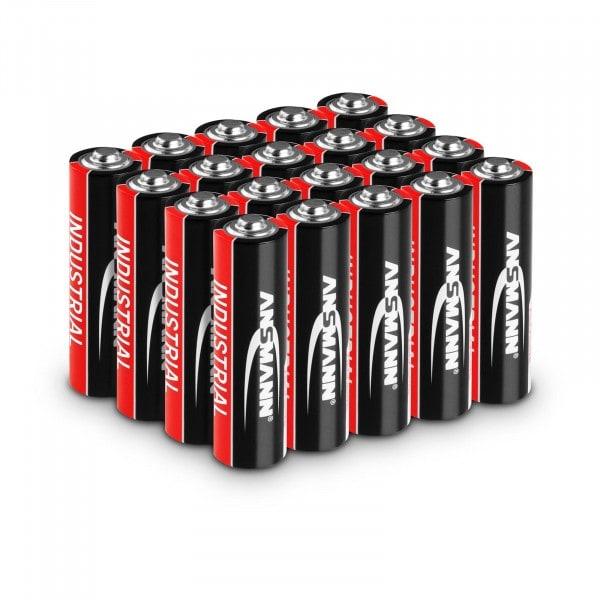 Piles alcalines industrielles Ansmann - 20 piles Mignon AA LR6 1,5 V