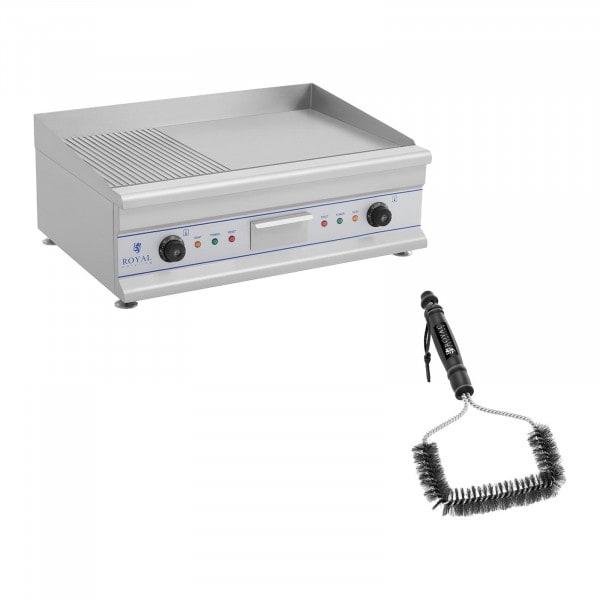 Kit plancha électrique lisse et rainurée avec brosse de nettoyage - Double - 75 cm - 2 x 3 200 W