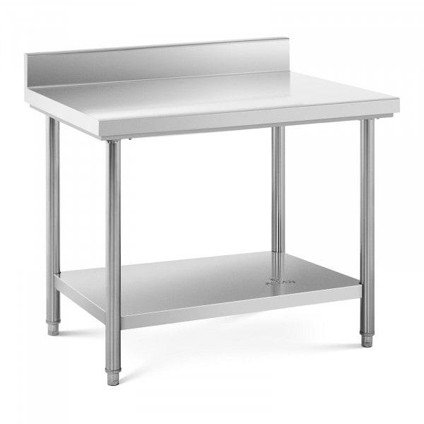Table de travail inox avec dosseret - 100 x 70 cm - Capacité de 120 kg