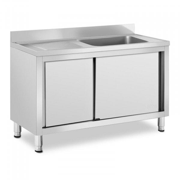 Plonge inox sur meuble - 1 bac - Royal Catering - Acier inoxydable - 500 x 400 x 260 mm