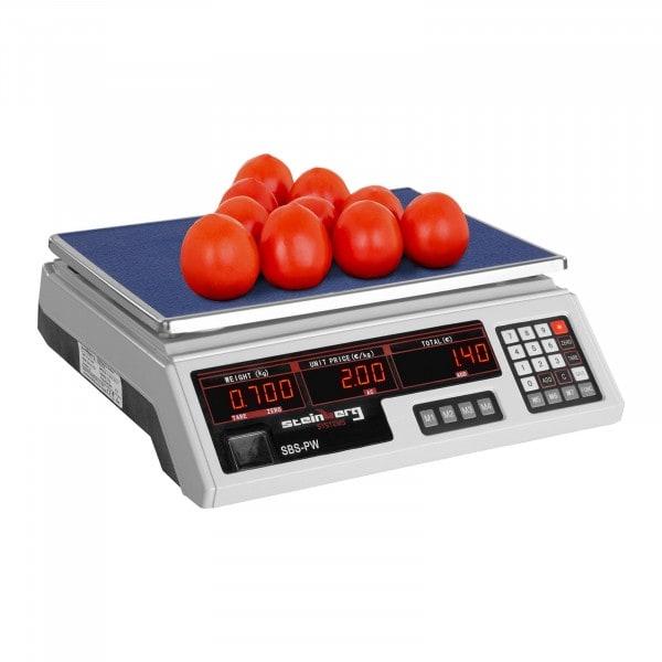Balance poids-prix - 30 kg / 2 g - blanche - LED