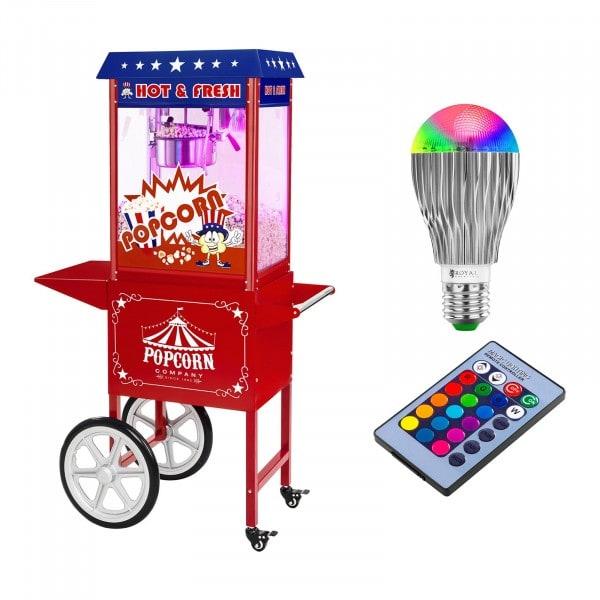Set machine à popcorn avec chariot et ampoule LED - Allure USA - Rouge