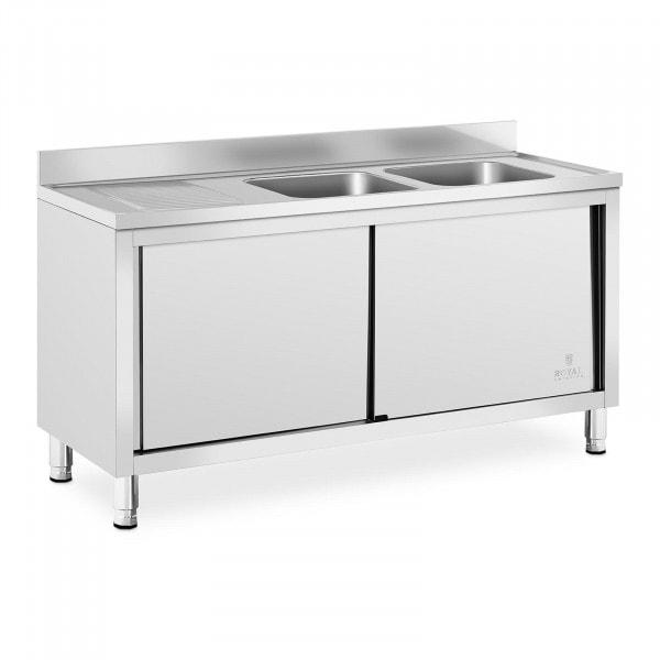Plonge inox sur meuble - 2 bacs - Royal Catering - Acier inoxydable - 400 x 400 x 250 mm
