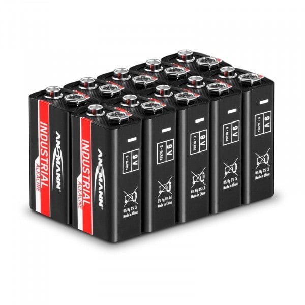 Piles alcalines industrielles Ansmann - 10 piles 9 V rectangulaires 6LR61