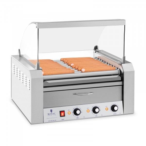 Grill à saucisses - 11 rouleaux - tiroir chauffant - acier inoxydable