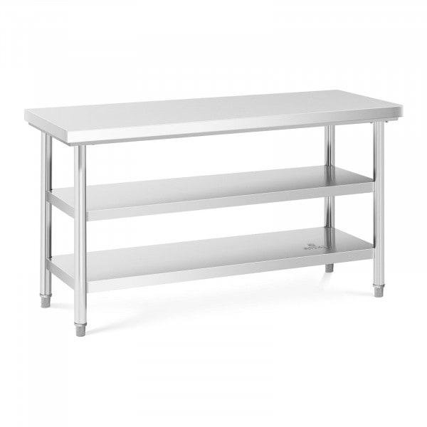 Table de travail inox - 150 x 60 cm - 600 kg - 3 niveaux