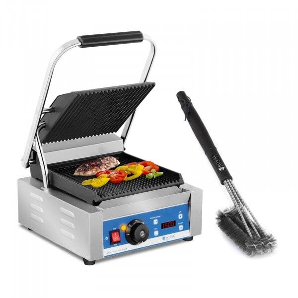 Kit machine à panini et brosse de nettoyage à 3 spirales - 1 800 W - Plaques rainurées - Minuterie