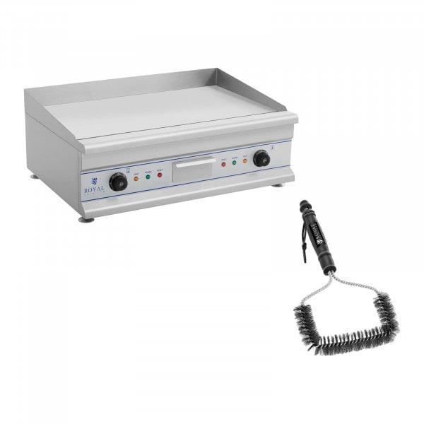 Kit plancha électrique lisse avec brosse de nettoyage - Double - 75 cm - 2 x 3 200 W