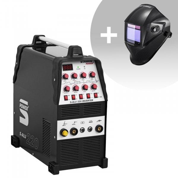 Set d'équipement de soudage Poste à souder aluminium - 200A - 230V- Temps 2/4 + Masque de soudure – Carbonic – PROFESSIONAL SERIES