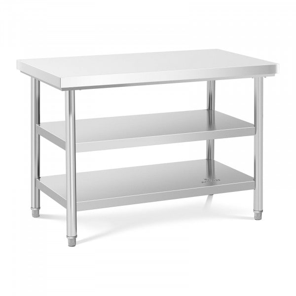 Table de travail inox - 120 x 70 cm - 600 kg - 3 niveaux