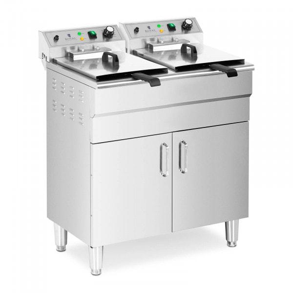 Friteuse électrique double - 26 l - 10000 W - Robinet - Zone froide - Armoire