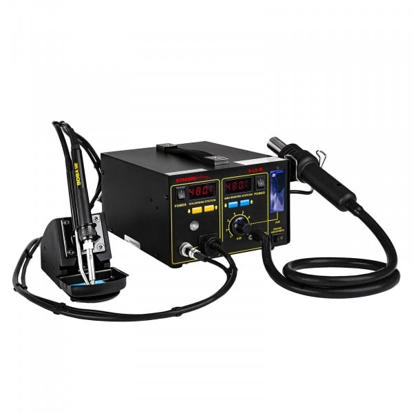 Gesamtansicht von Lötstation mit Lötrauchabsaugung – 2 Displays – 720 Watt - Basic