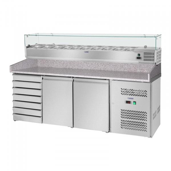 Table à pizza réfrigérée avec vitrine réfrigérée - 702 L - Surface de travail en granit - 2 portes