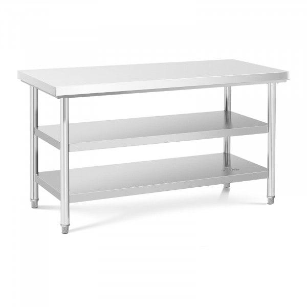 Table de travail inox - 150 x 70 cm - 600 kg - 3 niveaux