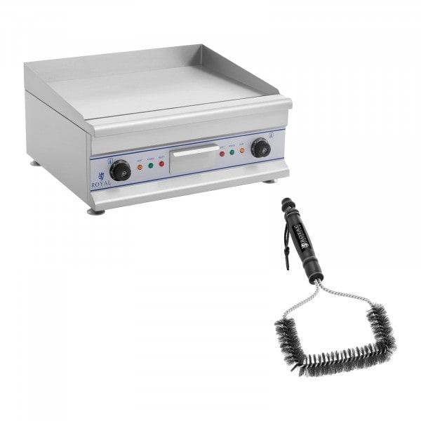 Kit plancha électrique lisse avec brosse de nettoyage - Double - 60 cm - 2 x 3 200 W