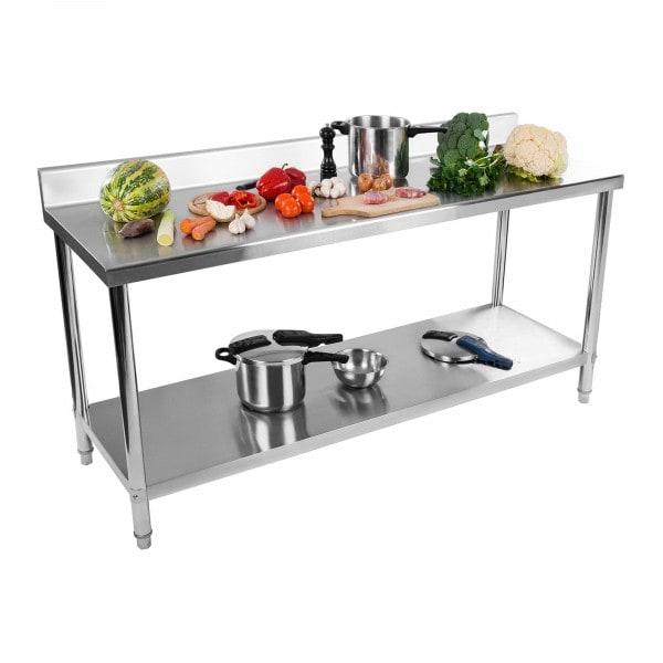 Table de travail inox avec dosseret - 200 x 60 cm - Capacité de 160 kg