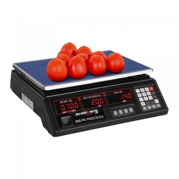 Balance poids-prix - 30 kg / 2 g - noire - LED