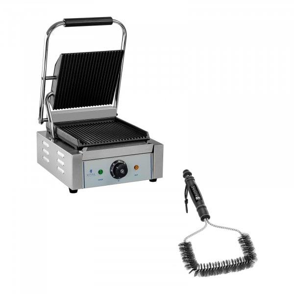 Kit machine à panini et brosse de nettoyage - 1 800 W - Plaques rainurées