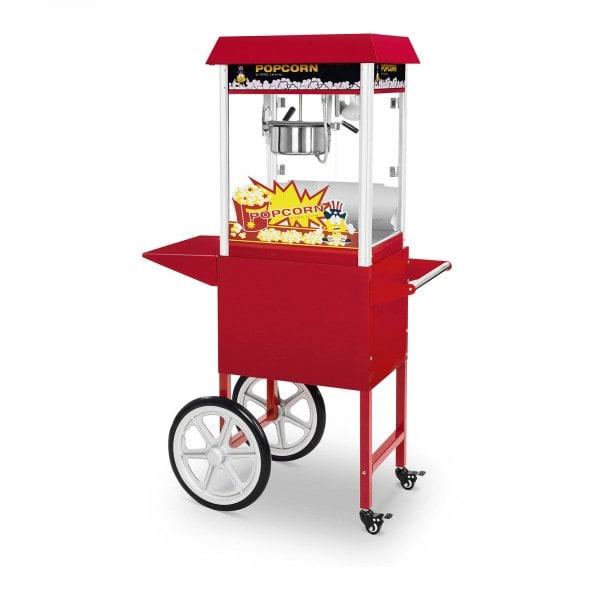 Machine à popcorn avec chariot - 1 495 W - Design rétro - Rouge