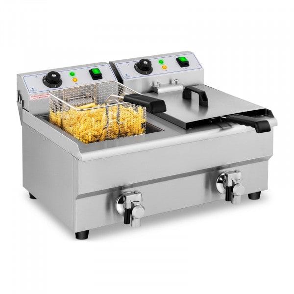 Friteuse électrique - 2 x 10 litres - Robinets de vidange
