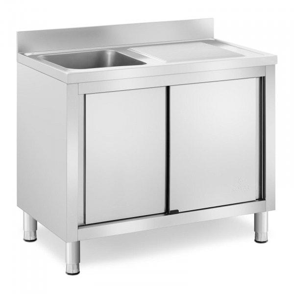 Plonge inox sur meuble - 1 bac - Royal Catering - Acier inoxydable - 400 x 400 x 240 mm
