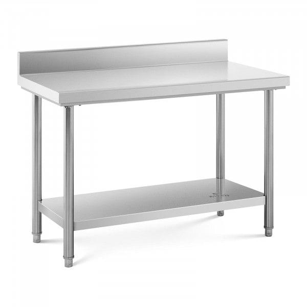 Table de travail inox avec dosseret - 120 x 60 cm - Capacité de 110 kg