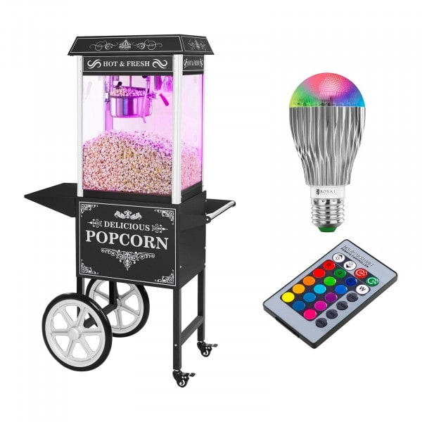 Set machine à popcorn avec chariot et ampoule LED — Allure rétro — Noire