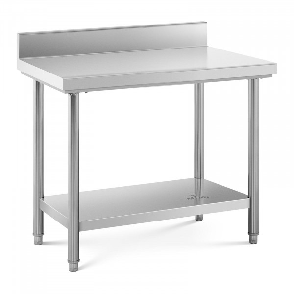Table de travail inox avec dosseret - 100 x 60 cm - Capacité de 114 kg