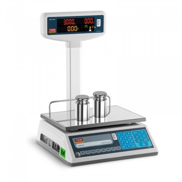 Balance poids-prix avec afficheur LED sur trépied - Calibrage certifié - 1,5 kg/0,5 g - 3 kg/1 g