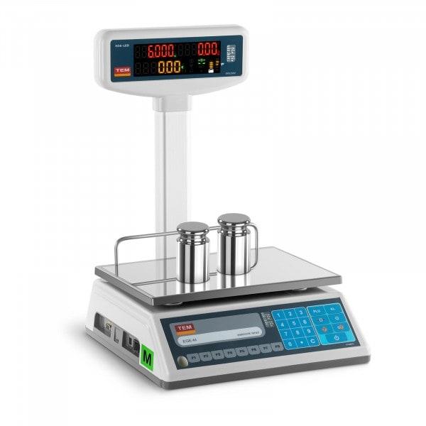 Balance poids-prix avec afficheur LED sur trépied - Calibrage certifié - 3 kg/1 g - 6 kg/2 g