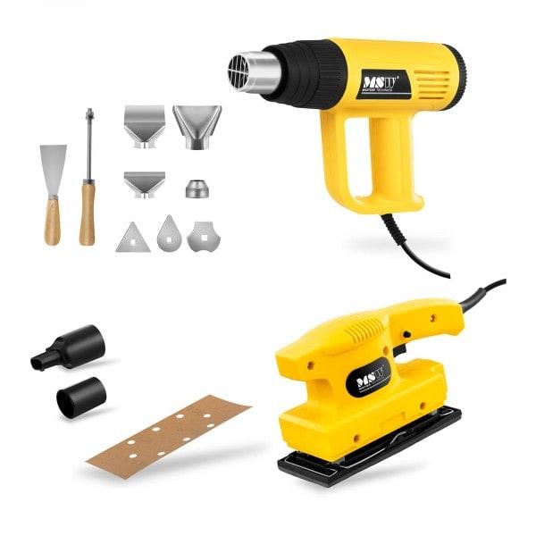 Pack d'outils électriques pour la rénovation du bois : décapeur thermique et ponceuse vibrante - PRO