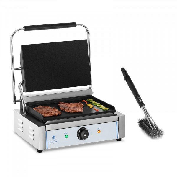 Kit machine à panini et brosse de nettoyage à 3 spirales - Plaques lisses - 2 200 W