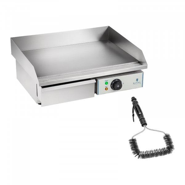 Kit plancha électrique lisse avec brosse de nettoyage - 55 cm - 3 000 W