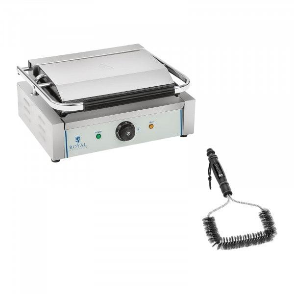 Kit machine à panini et brosse de nettoyage - 2 200 W - Plaques rainurées